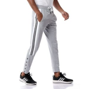 Sweatpants With Side Stripes & Buttons