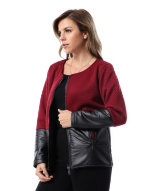 Women Jacket With Leather On Sleeve