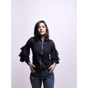 Lace Jacket With Zipper & Ruffles On Sleeves