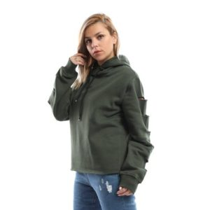 Sweatshirt with Sleeve Slits