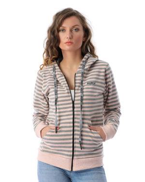Striped Hoodie Sweatshirt With Pockets