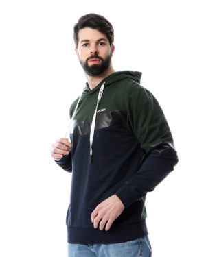 Men Sweatshirt with Leather Panel