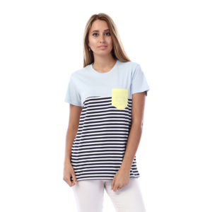 Striped Tshirt With Side Pocket For Women