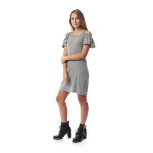 Ruffled Sleeve Short Dress For Women