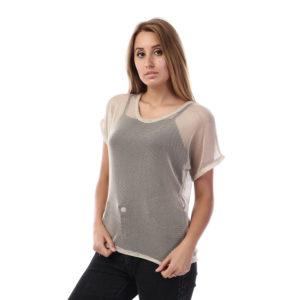 Shimmery Mesh Tshirt For Women