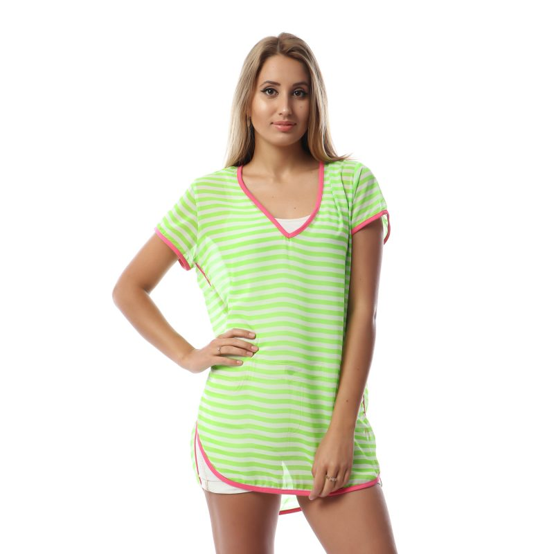 Neon Striped Blouse For Women