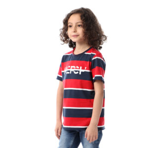 Striped Tshirt With Chest Logo Print For Boys
