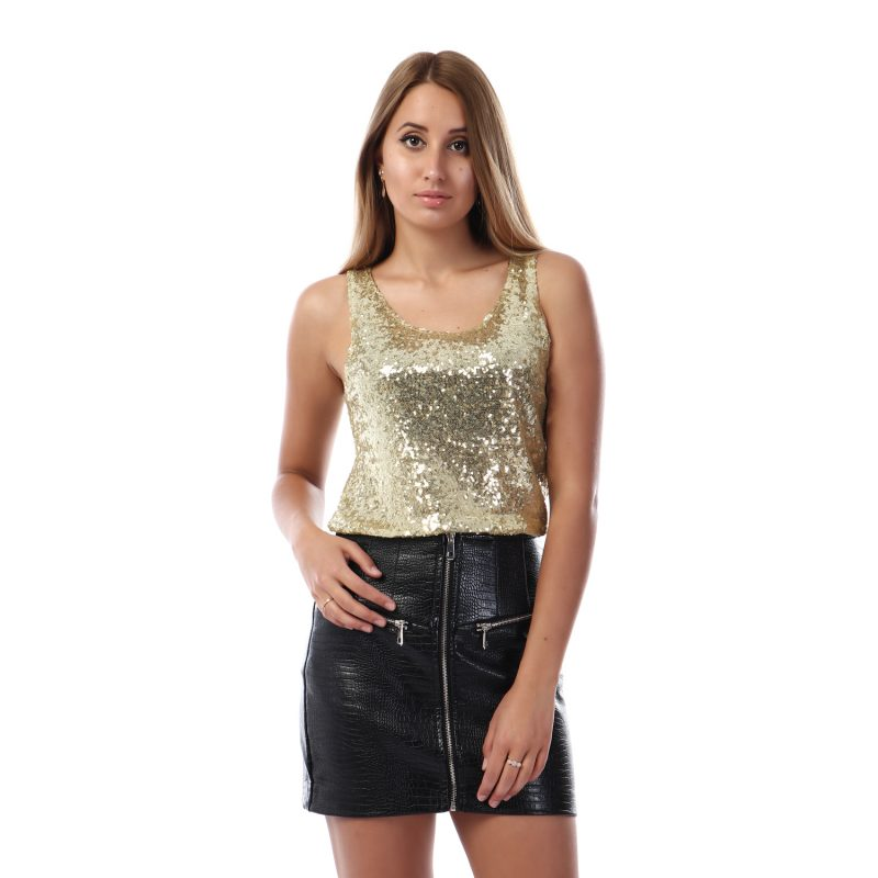 Glittery Sleeveless Top For Women