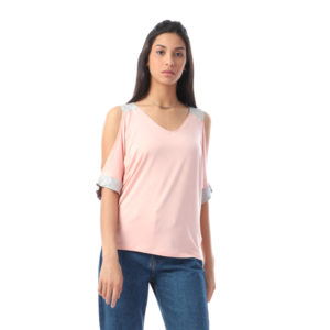 Cold Arm Contrast Blouse For Women