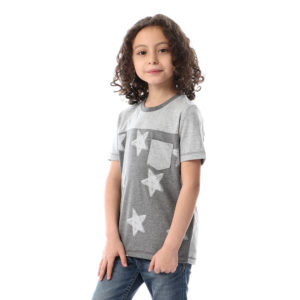 Star Full Print With Side Pocket Tshirt For Boys