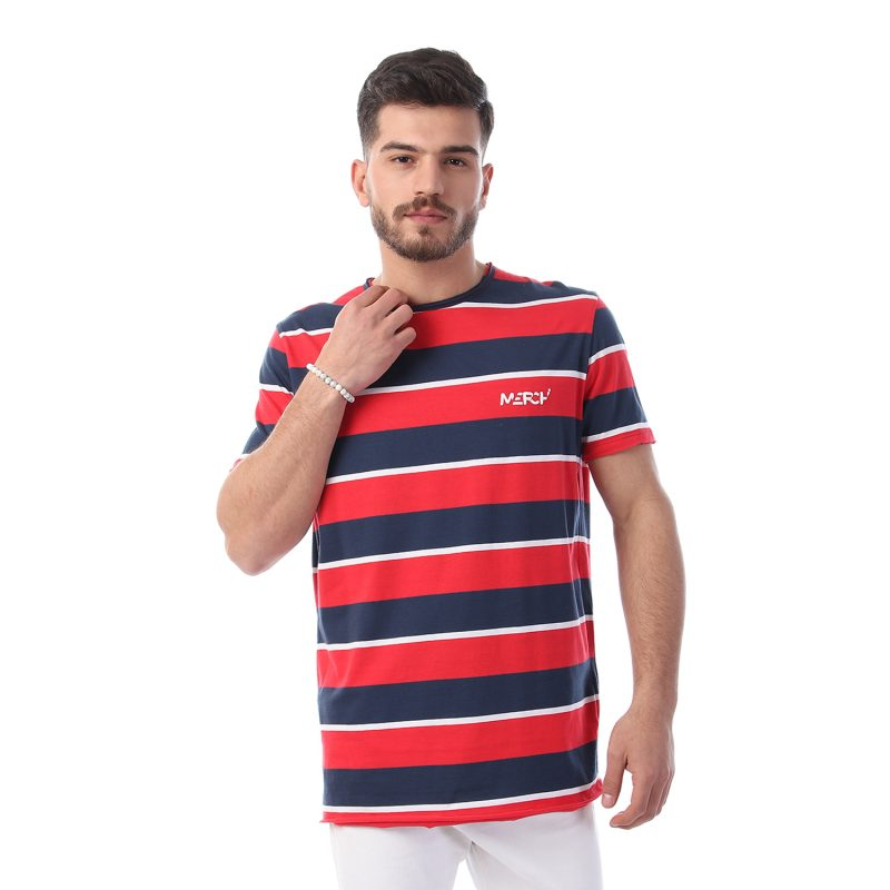 Tri Colored Striped Tshirt With Rubber Logo For Men