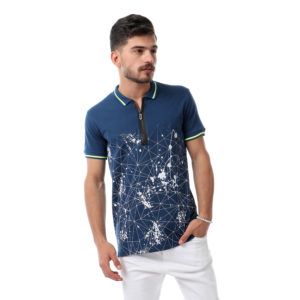 Geometric Polo Shirt With Zipper