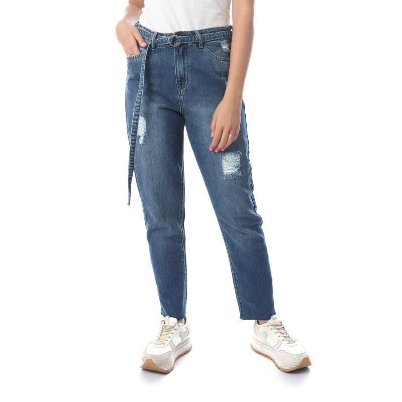 Denim Pants With Belt For Women