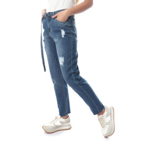 Denim Pants With Belt For Women