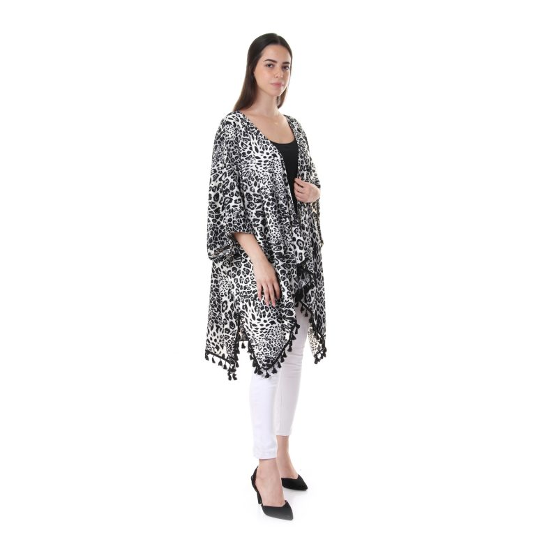 Leopard Cardigan With Pompoms For Women